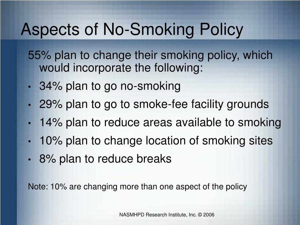 Aspects of No-Smoking Policy