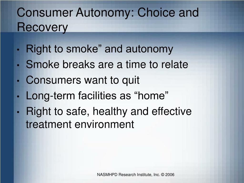 Consumer Autonomy: Choice and Recovery