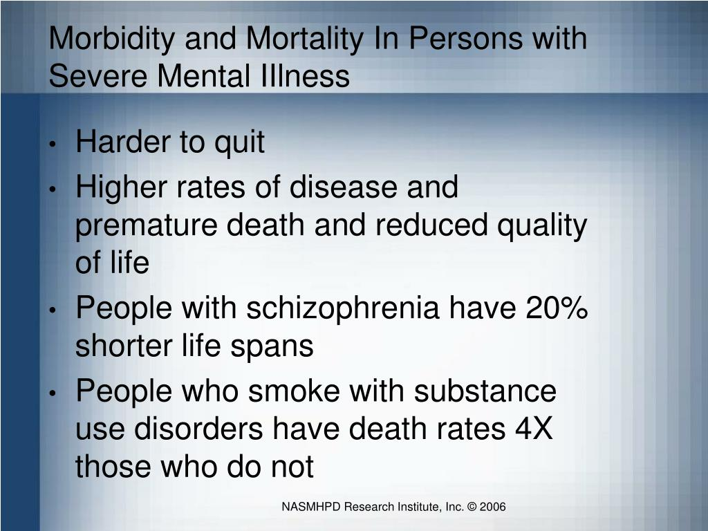 Morbidity and Mortality In Persons with Severe Mental IIlness
