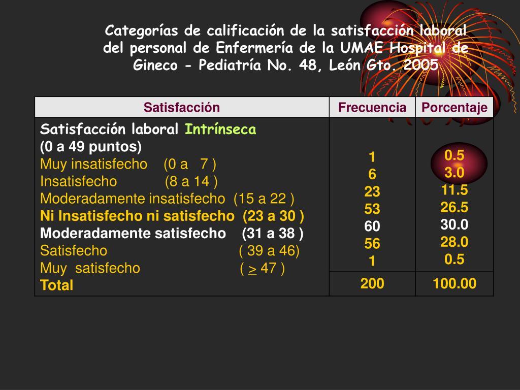Categorías de calificación de la satisfacción laboral del personal de Enfermería de la UMAE Hospital de Gineco - Pediatría No. 48, León Gto. 2005