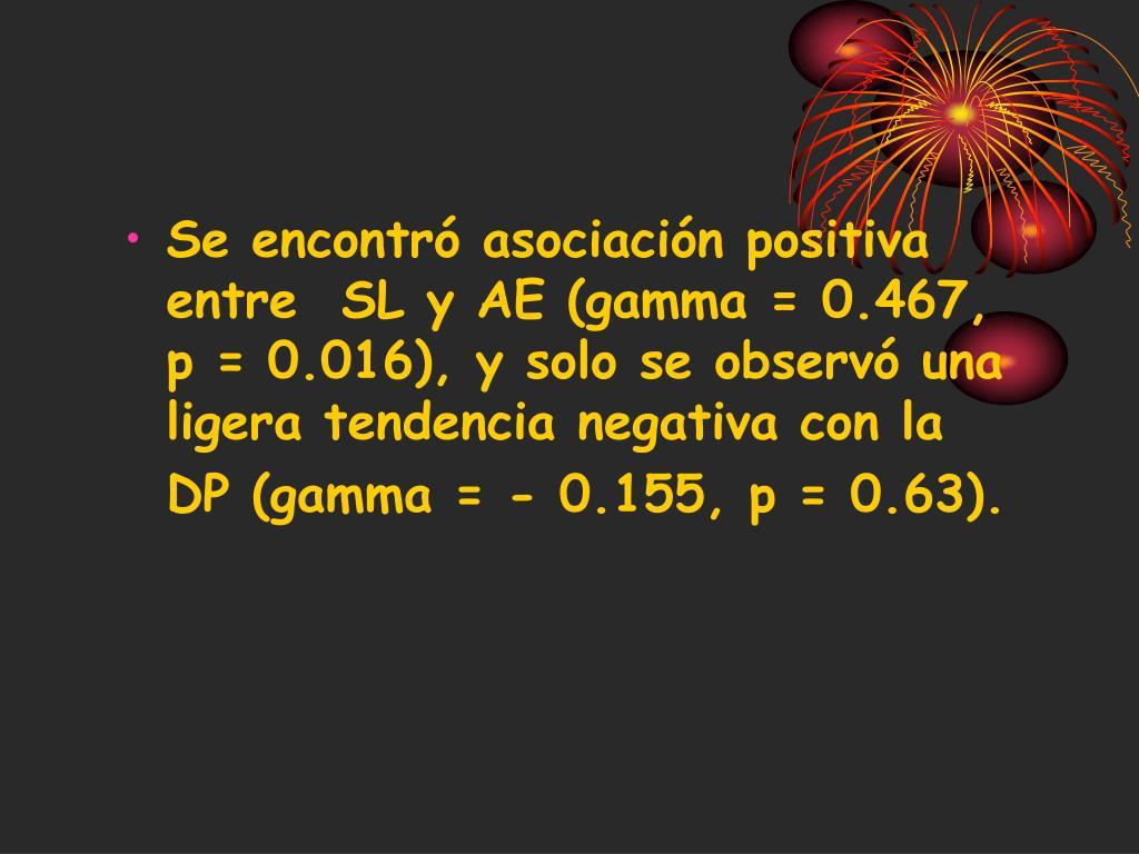 Se encontró asociación positiva entre  SL y AE (gamma = 0.467, p = 0.016), y solo se observó una ligera tendencia negativa con la DP (gamma = - 0.155, p = 0.63).