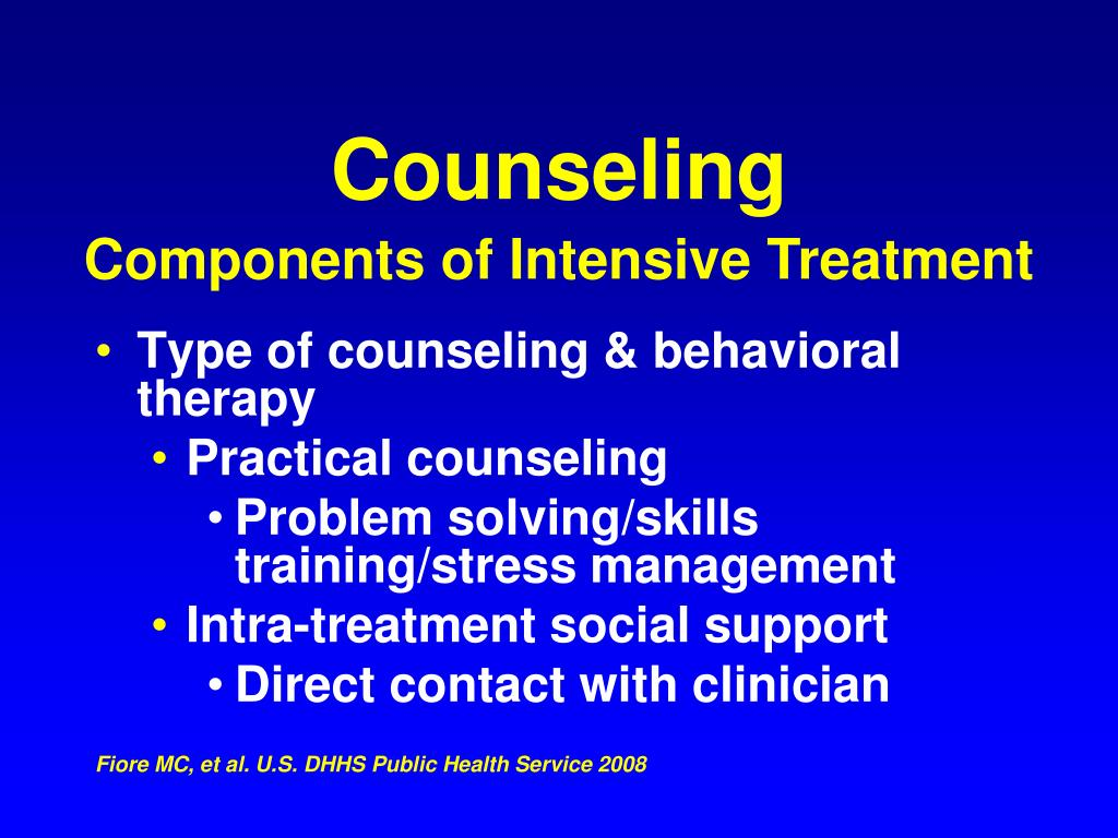 Type of counseling & behavioral therapy
