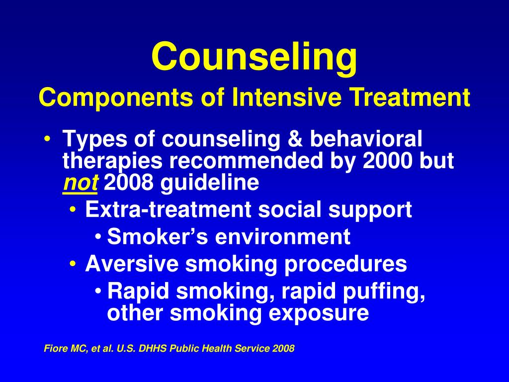 Types of counseling & behavioral therapies recommended by 2000 but