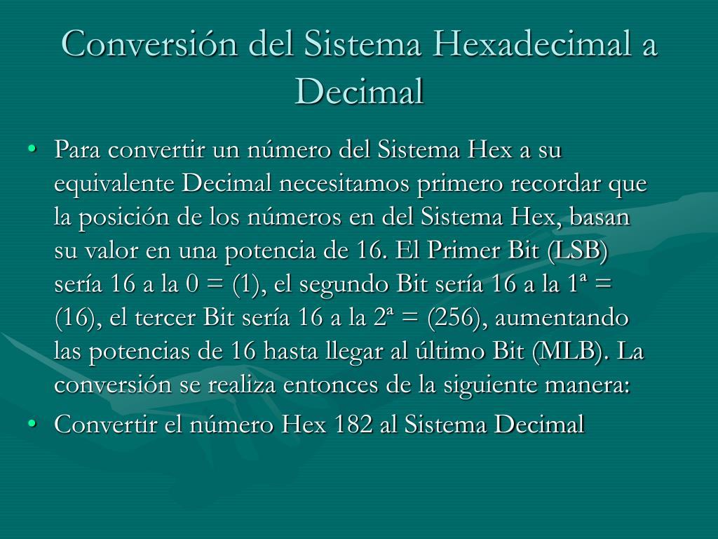 Conversión del Sistema Hexadecimal a Decimal