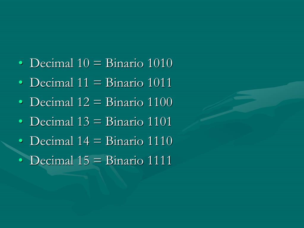 Decimal 10 = Binario 1010
