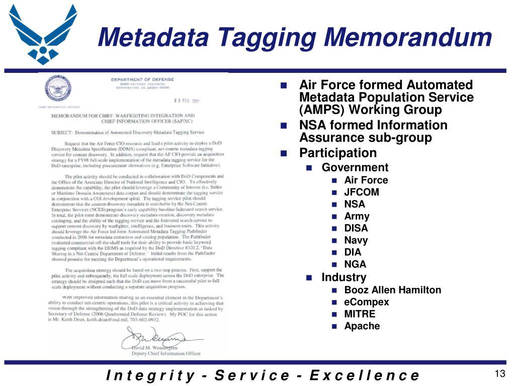 Metadata Tagging Memorandum
