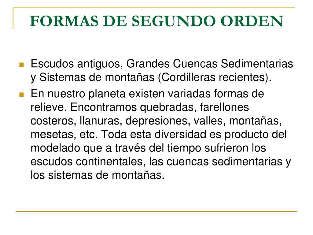 FORMAS DE SEGUNDO ORDEN