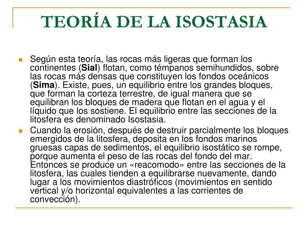 TEORÍA DE LA ISOSTASIA