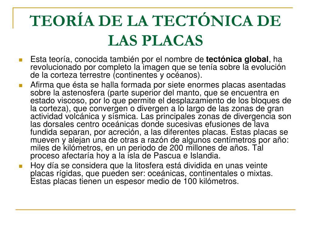 TEORÍA DE LA TECTÓNICA DE LAS PLACAS
