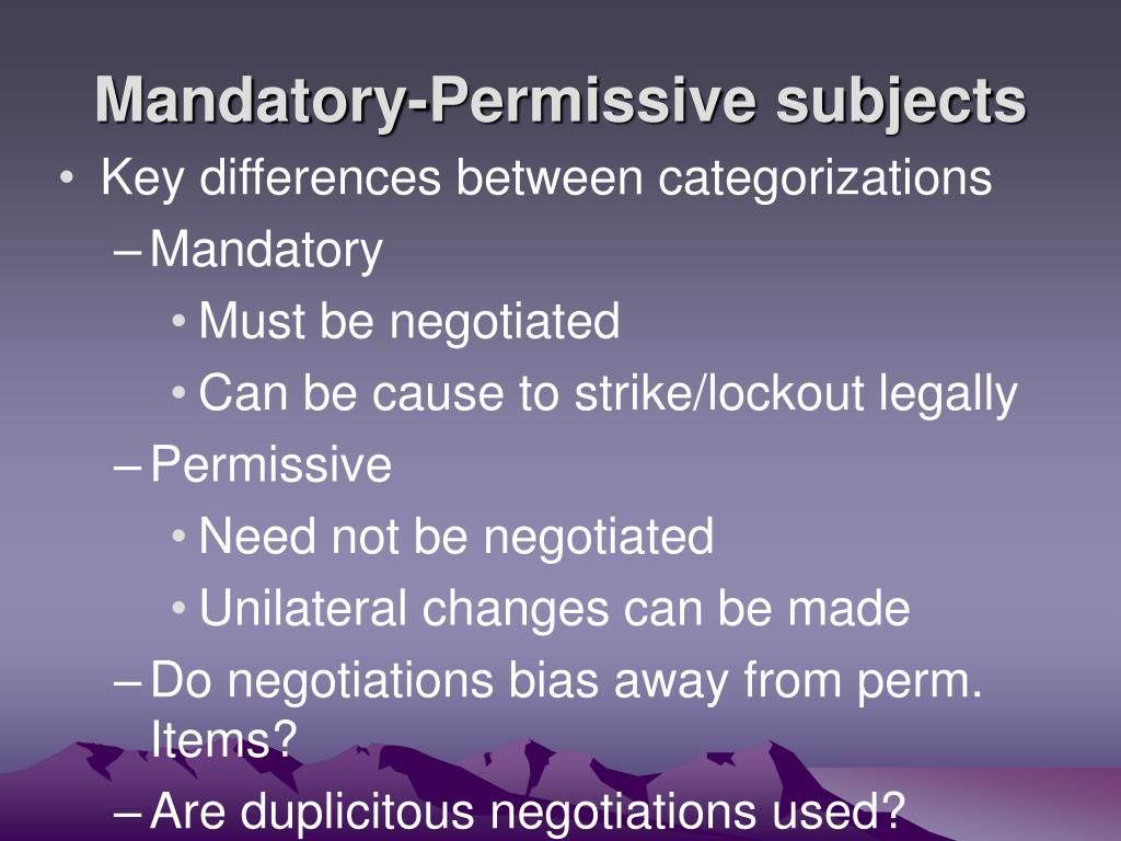 Mandatory-Permissive subjects