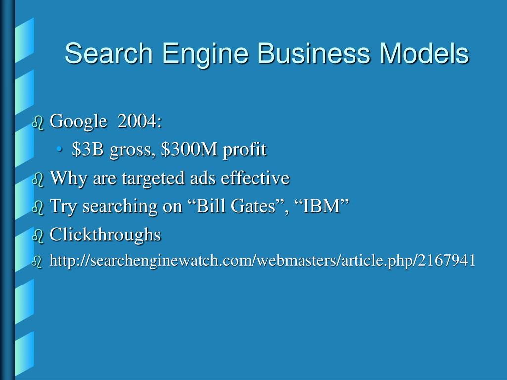 Search Engine Business Models