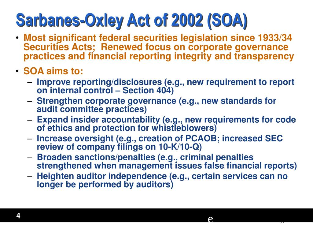 sarbanes oxley act 2002 section 302 We've put together an it primer on the sarbanes-oxley act  sox section 302 privately held companies often view the sarbanes-oxley act of 2002.