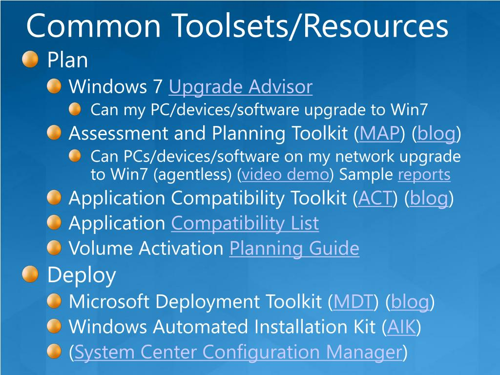 Common Toolsets/Resources