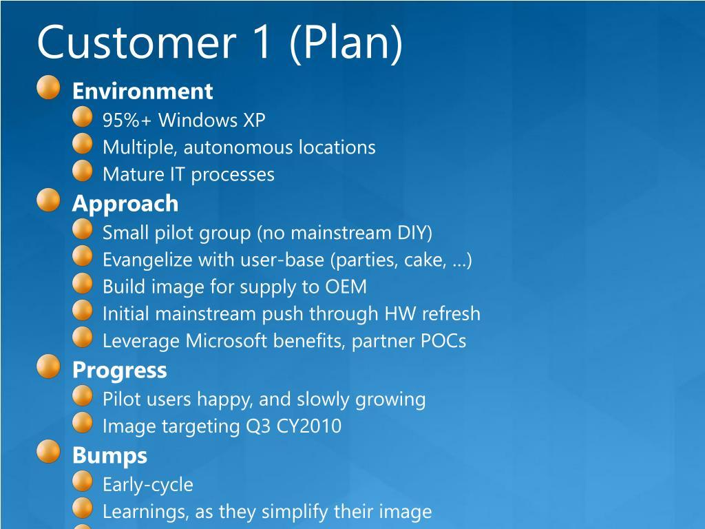 Customer 1 (Plan)