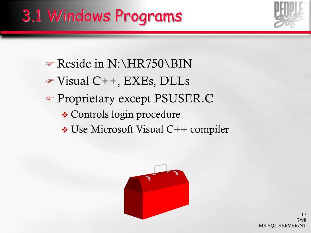 3.1 Windows Programs