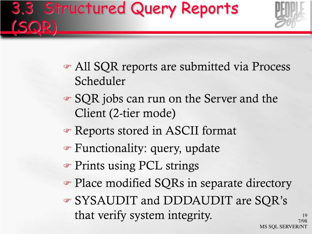 3.3  Structured Query Reports (SQR)