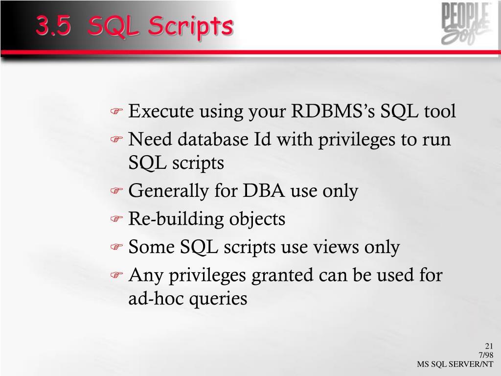 3.5  SQL Scripts