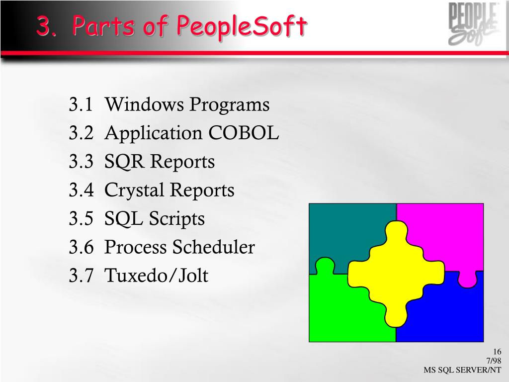 3.  Parts of PeopleSoft