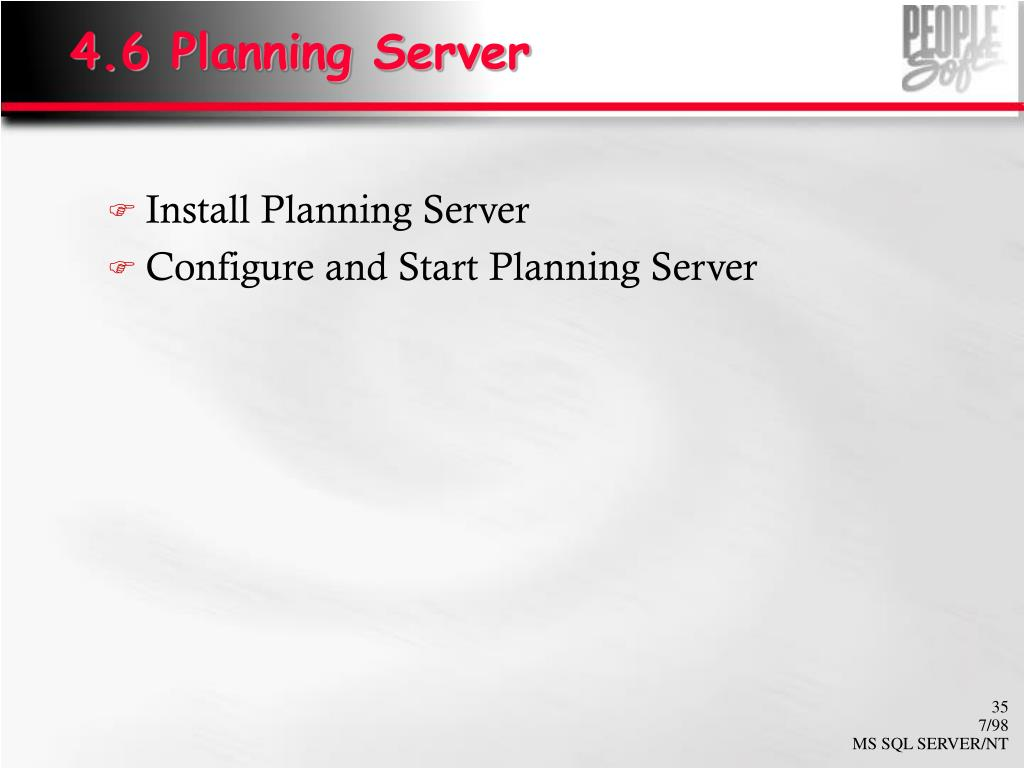 4.6 Planning Server