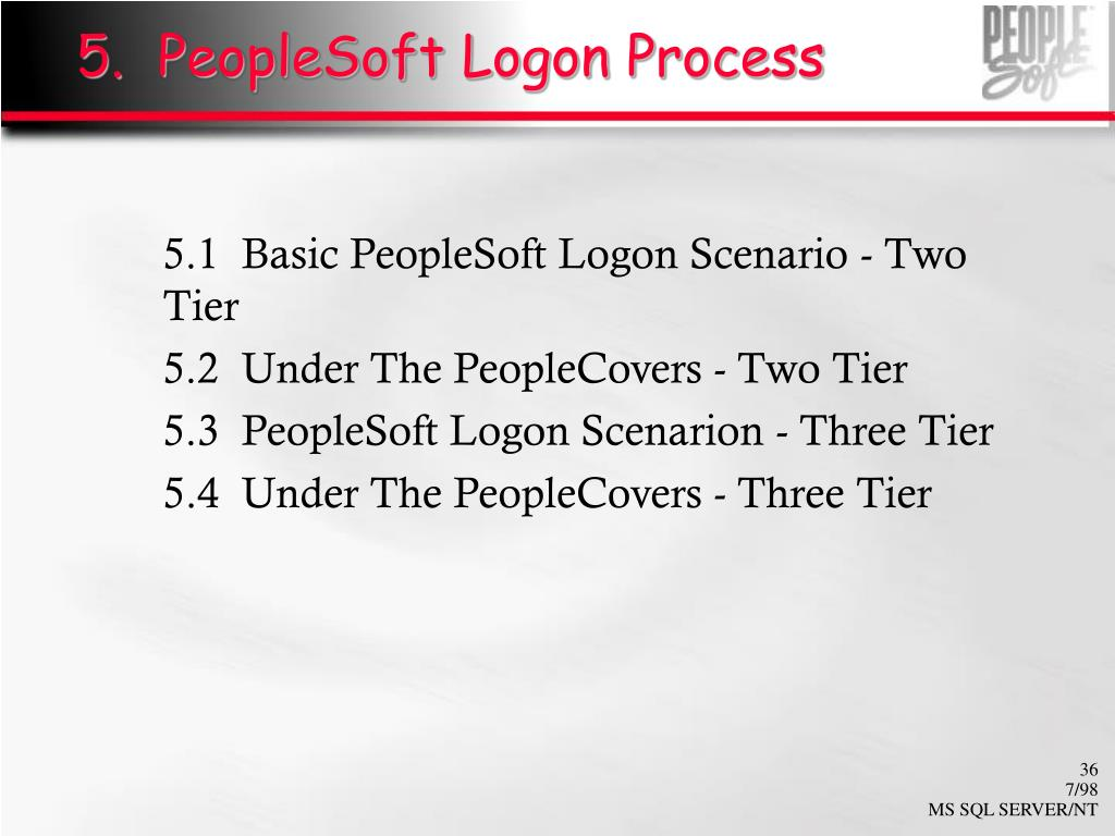 5.  PeopleSoft Logon Process