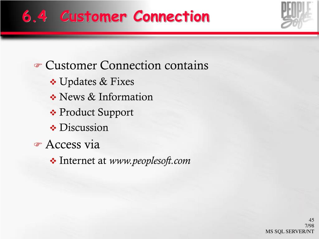 6.4  Customer Connection
