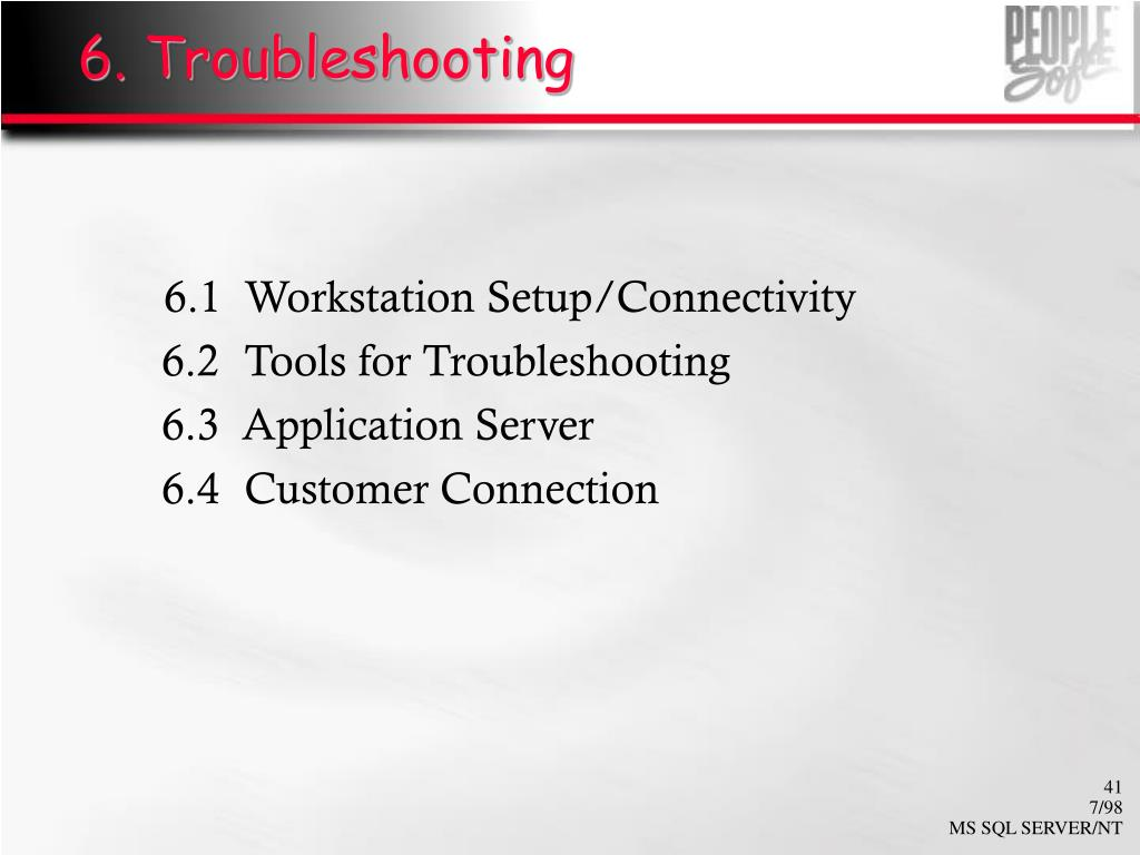 6. Troubleshooting