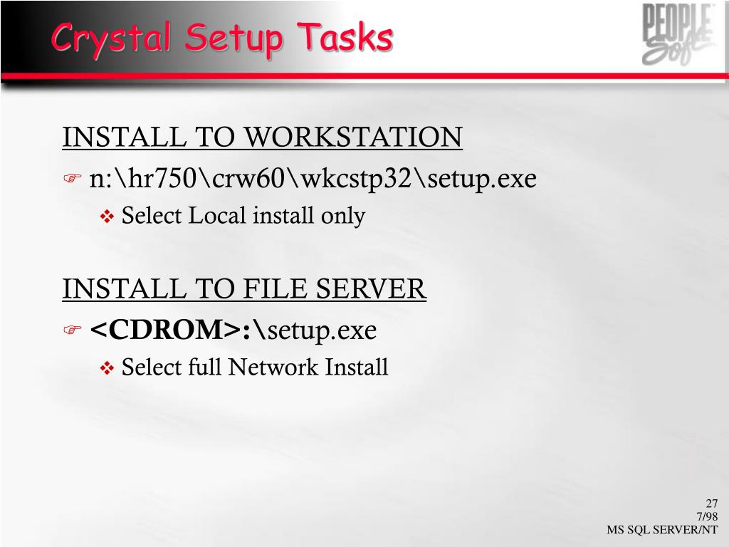 Crystal Setup Tasks