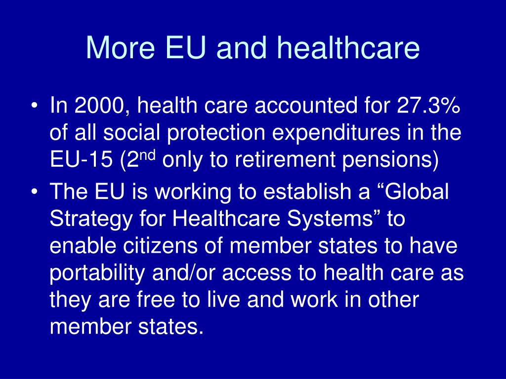 More EU and healthcare