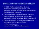 political historic impact on health