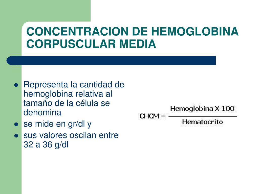 CONCENTRACION DE HEMOGLOBINA CORPUSCULAR MEDIA