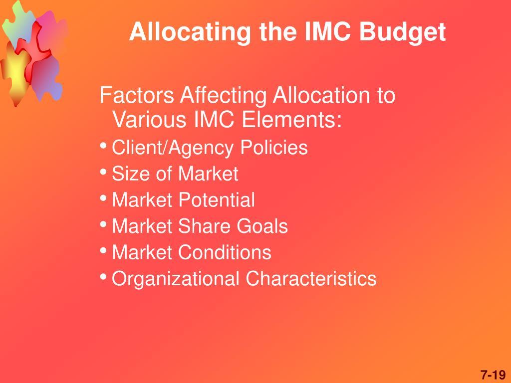 Allocating the IMC Budget