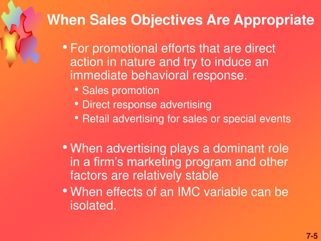 When Sales Objectives Are Appropriate