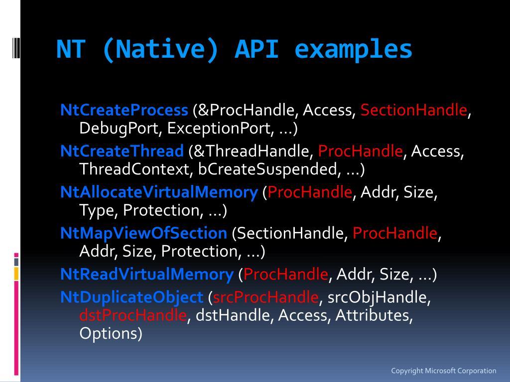 NT (Native) API examples