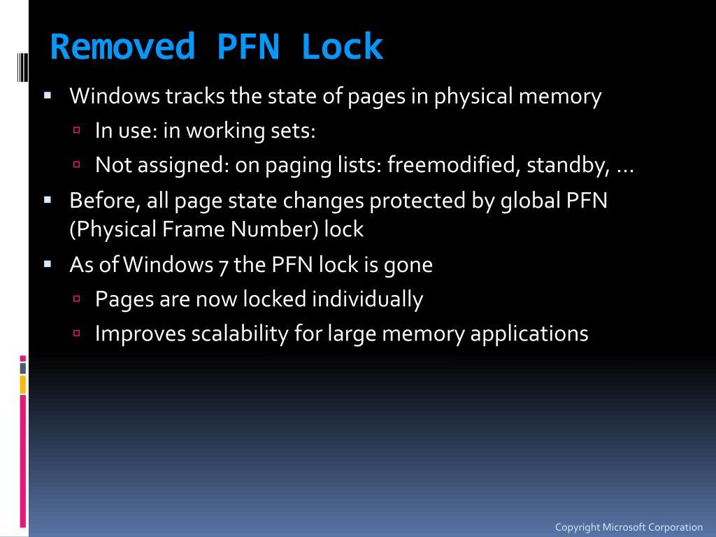 Removed PFN Lock