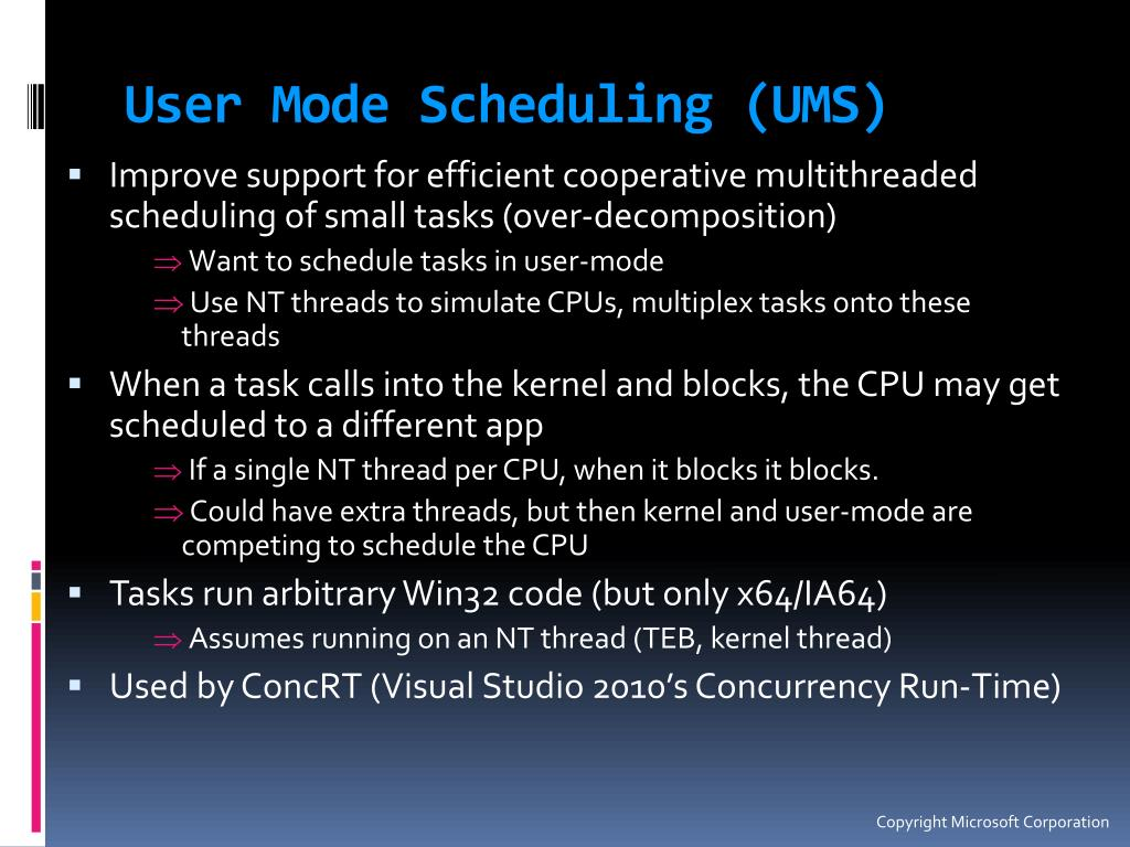User Mode Scheduling (UMS)