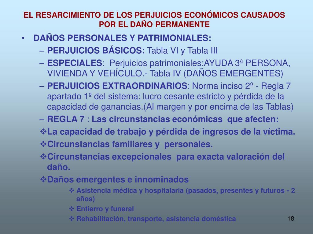 EL RESARCIMIENTO DE LOS PERJUICIOS ECONÓMICOS CAUSADOS POR EL DAÑO PERMANENTE