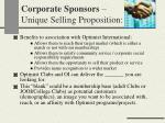 corporate sponsors unique selling proposition