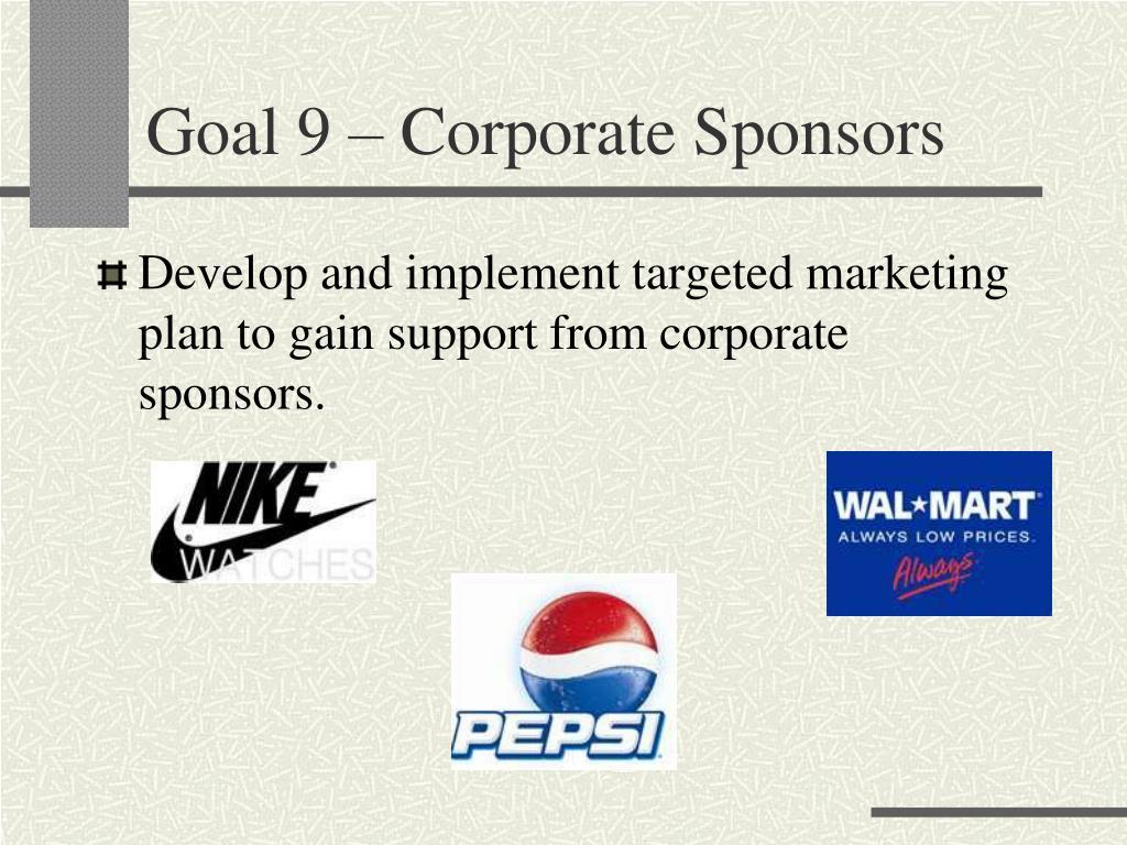 Goal 9 – Corporate Sponsors