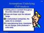 assumptions underlying cvp analysis