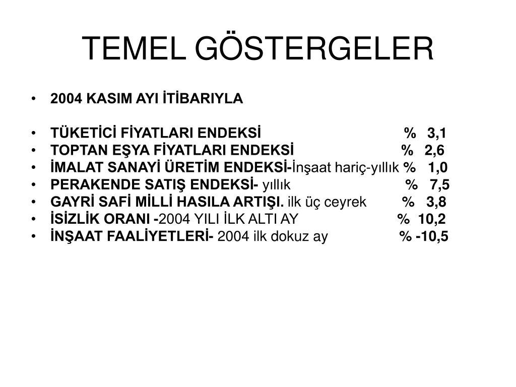 TEMEL GÖSTERGELER