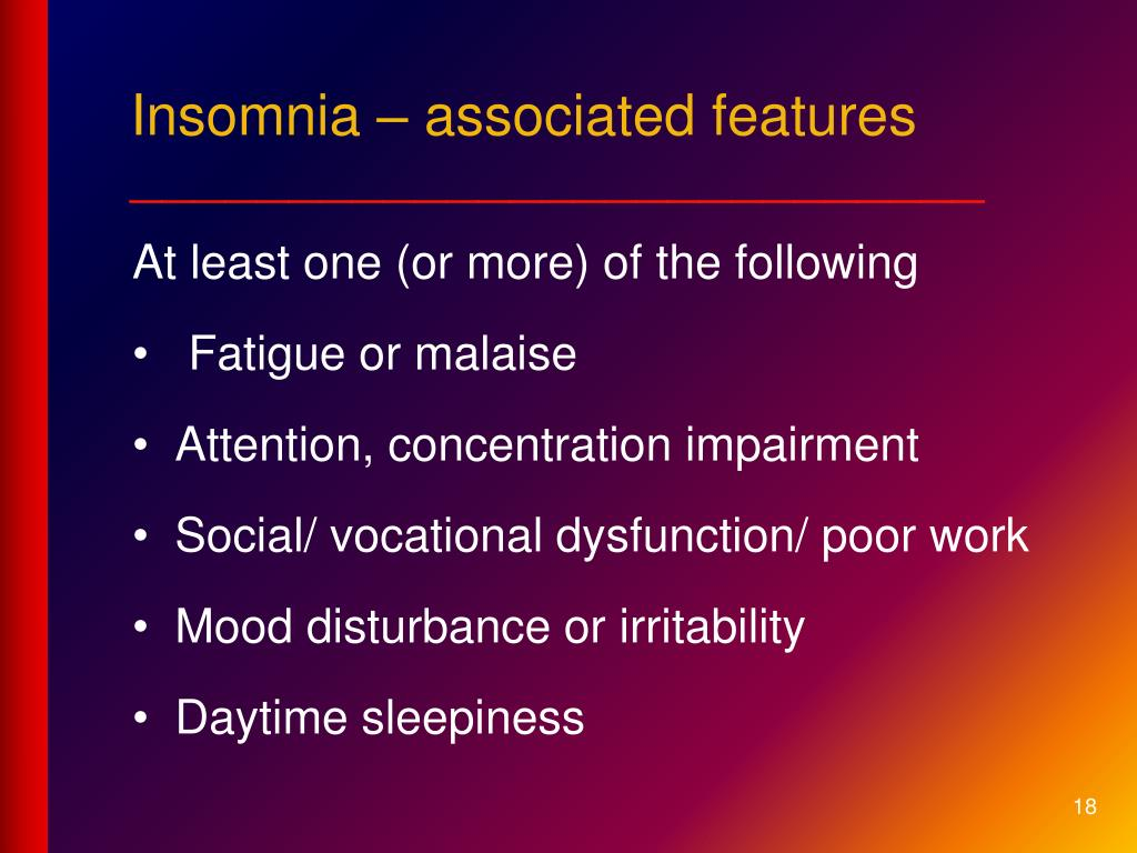 Insomnia – associated features