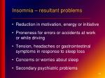 insomnia resultant problems