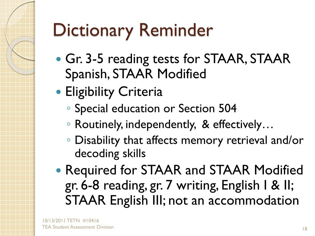 PPT   ACCOMMODATIONS for Students with Disabilities Taking ...