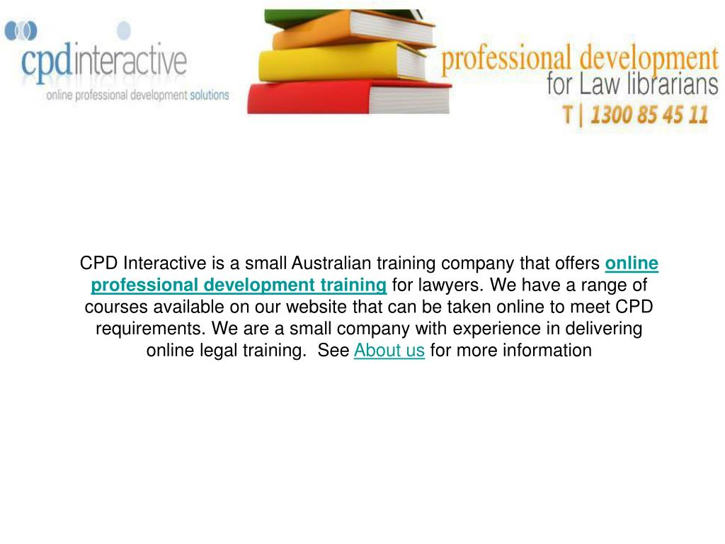 CPD Interactive is a small Australian training company that offers