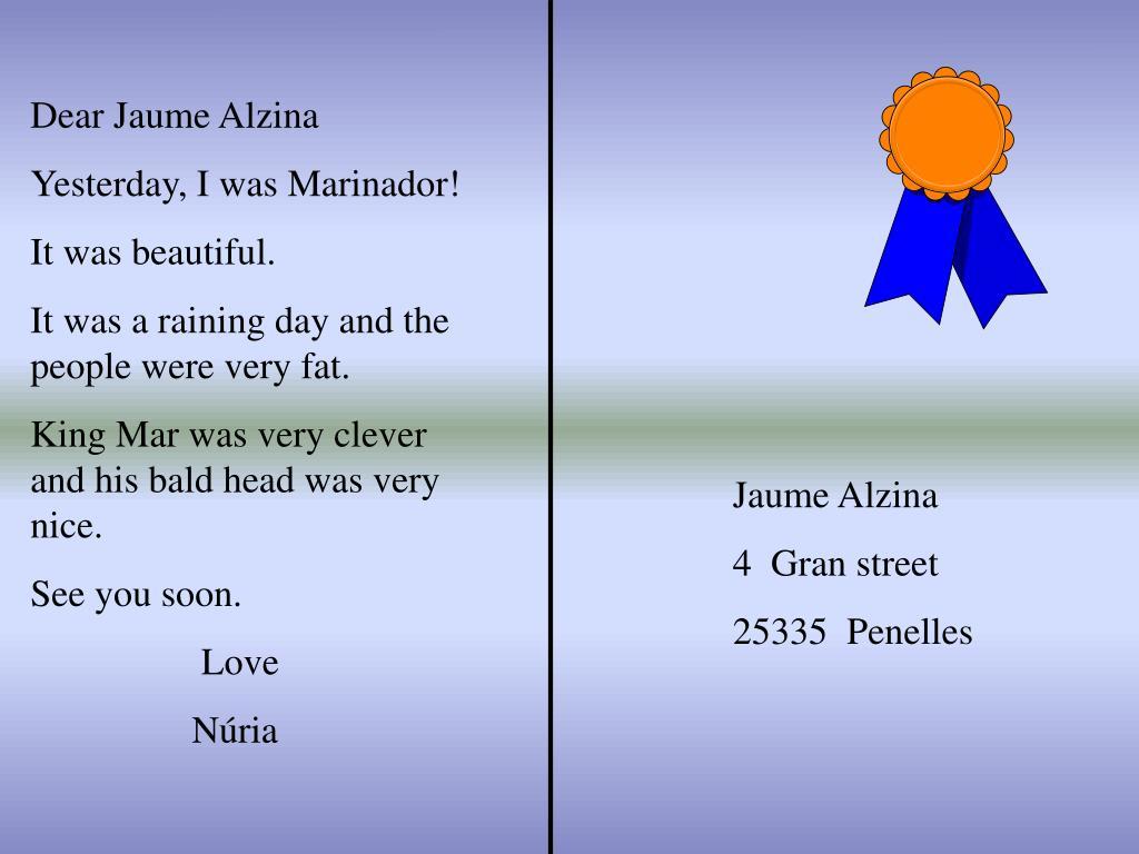 Dear Jaume Alzina