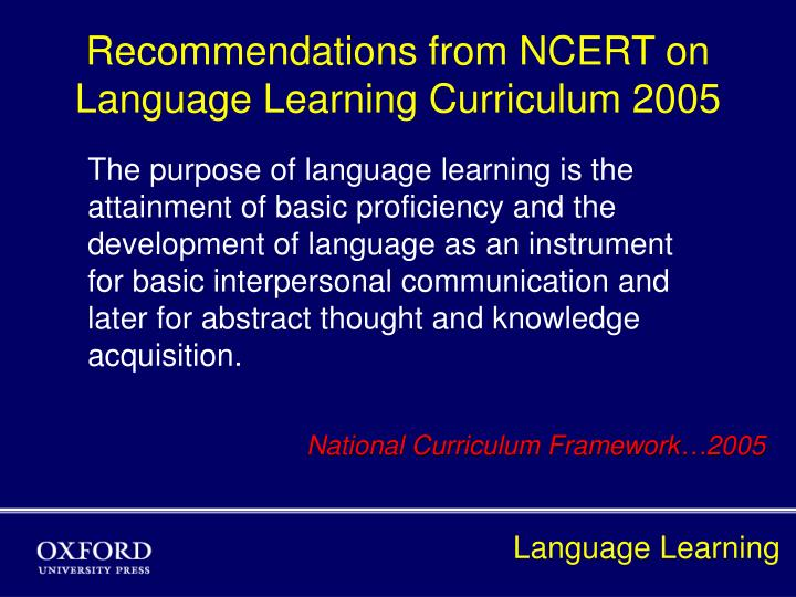 Recommendations from ncert on language learning curriculum 2005 l.jpg
