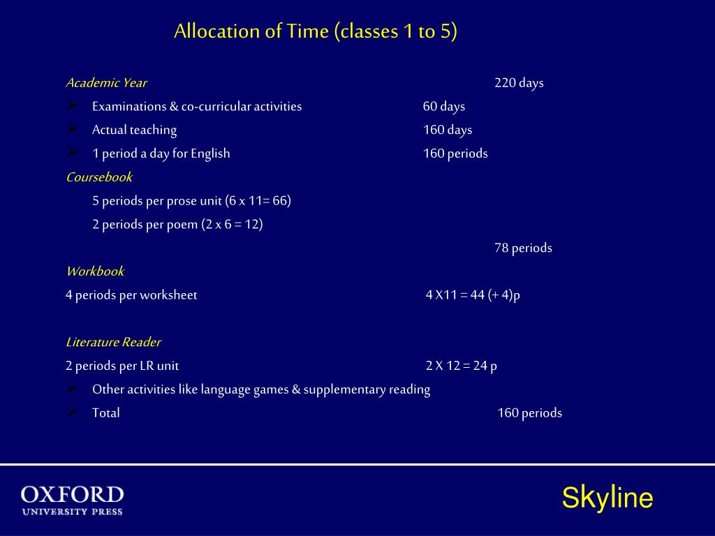 Allocation of Time (classes 1 to 5)
