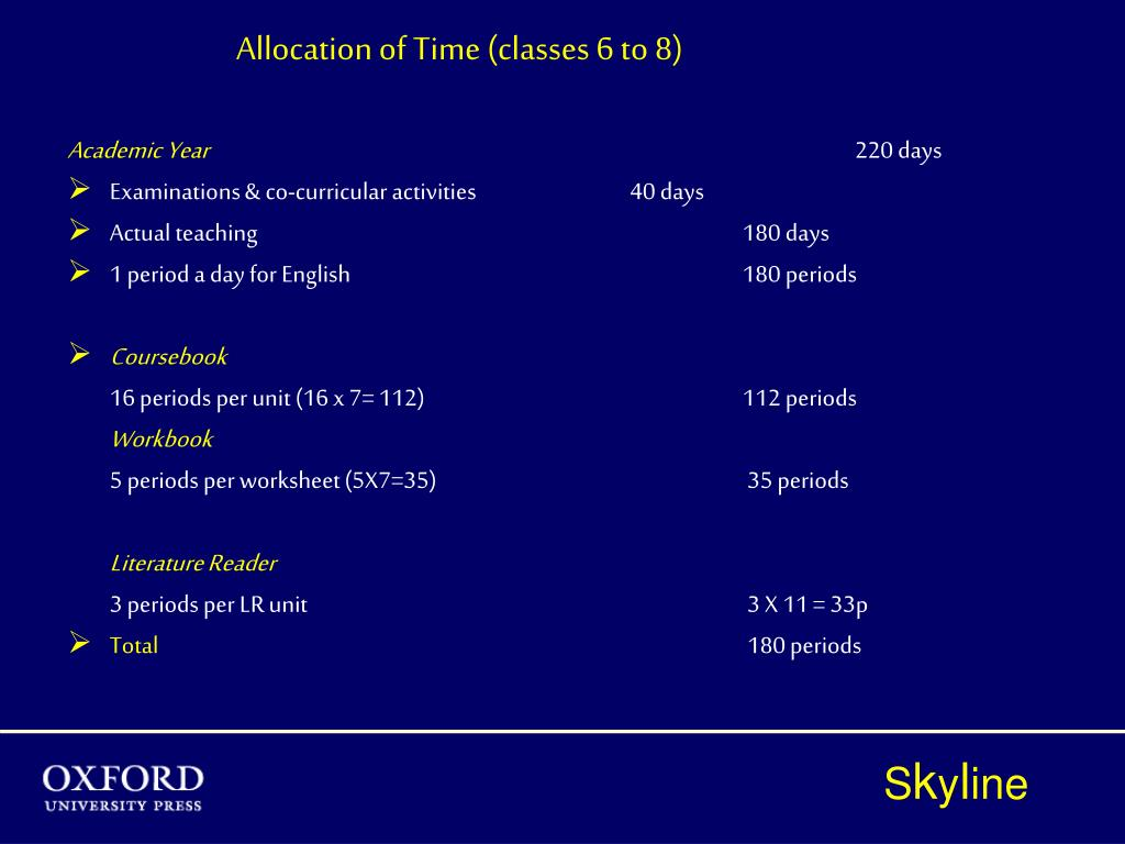 Allocation of Time (classes 6 to 8)
