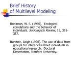 brief history of multilevel modeling