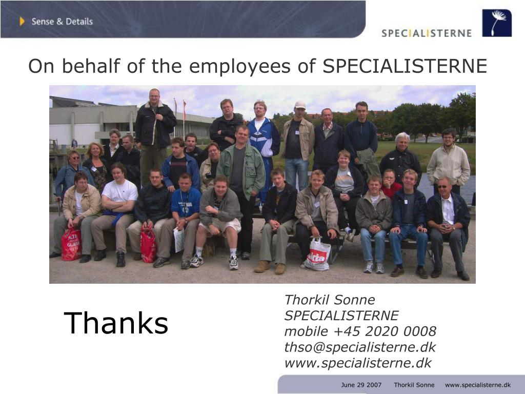 On behalf of the employees of SPECIALISTERNE